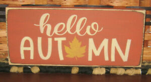 Primitive Country Hello Autumn Shelf Sign Fall Harvest