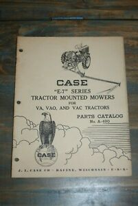 Vintage Case e 7 Series Tractor Mounted Mower Parts Catalog Manual No A 490