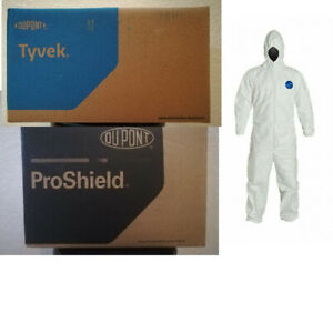 Case Of 25 Dupont Coverall With Hood Tyvek Proshield M L Xl 2xl 3xl 4xl