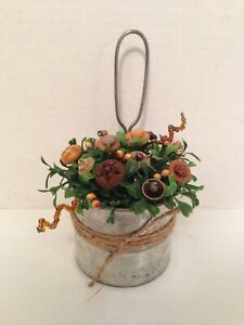 Vtg Button Bouquet Vtg Sifter Country Rustic Prim Shabby Cottage Chic Wall Decor