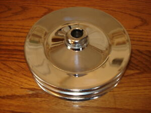 Saginaw Style Chrome Double Power Steering Pulley Keyed