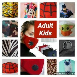 Reausable Cloth Cotton Face Mask Adult kids With Breathing Valve spiderman