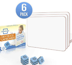 6 Ct Dry Erase Lap Board Small Whiteboard 9x12 Single Sided Erasers Included