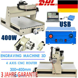 Usb 4 axis 3040 Cnc Router Engraver Woodworking Milling Cutting Machine 400w Usb