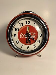 Coca Cola Clock Shiny Red Vintage PERFECT CONDITION