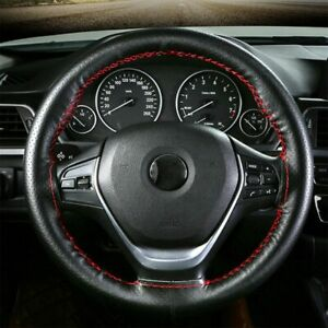 Black Leather Diy Car Steering Wheel Cover With Needles And Red Thread