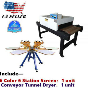 6 Color 6 Station Manual Screen Printing Machine 220v Conveyor Tunnel Dryer