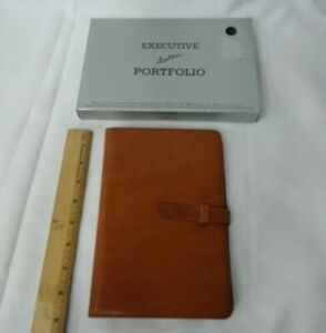 Vintage Top Grain Cowhide Brown Leather Portfolio Executive Notepad T5