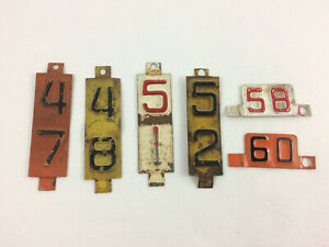 Vintage Metal License Plate Year Tag Toppers Lot Of 6 1947 48 51 52 58 60