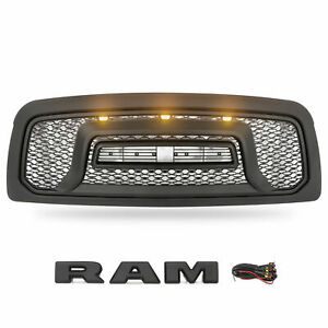 Front Grill For 2009 2012 Dodge Ram 1500 Grille Rebel Style With 3 Led Lights