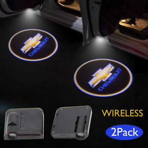 2 for Chevrolet Wireless Led Courtesy Car Logo Door Ghost Shadow Projector Light