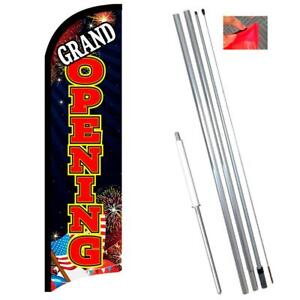 Grand Opening fireworks Premium Windless style Feather Flag Bundle 14 Or Repl