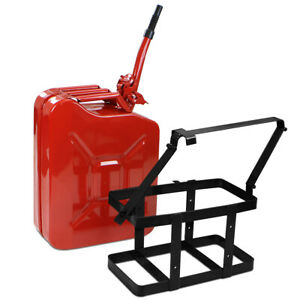 5 Gallon 20l Jerry Can Gas Diesel Fuel Steel Tank Nato Style Holder W Mount Red