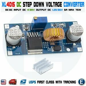 Xl4015 5a Dc Buck Step Down Voltage Converter Constant With Heatsink Module Usa