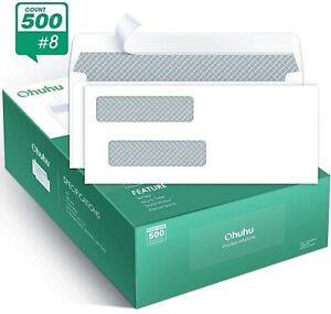 Ohuhu 500 Pack 8 Double Window Envelope Self Seal Adhesive Tinted Security