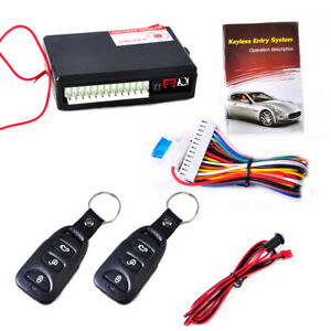 Universal Auto Car Keyless Entry Two 3 button Remote Door Lock Controller Kit