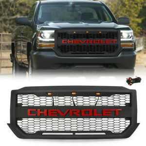 For Chevrolet Silverado 1500 2016 2018 Black Grill With 3 Lights Red Letters