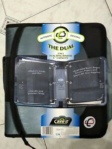 Case it 2 In 1 Dual Ring Binder 3 Capacity Back To School Strap Gray Black