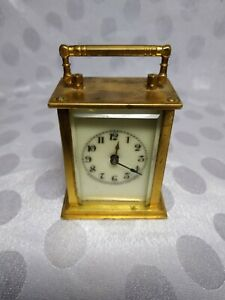 Cool Antique Waterbury Miniature Brass Bevel Glass Carriage Clock
