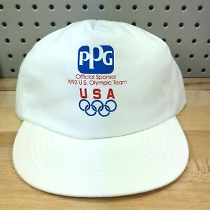 Vintage Ppg Pittsburgh Paints 1992 Olympic Sponsor White Snapback Hat Usa Made