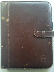 Vintage Full Size Padfolio Portfolio Notebook Divided file pad Organizer Buckle
