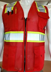 Two Tonehi Vis Reflective Red Safety Vest For Traffic Security Volunteer Work