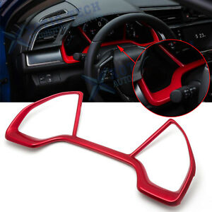 For Honda Civic 2016 2019 10th Abs Red Inner Dashboard Frame Panel Cover Trims