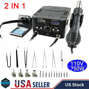 110v 2 In 1 Smd Rework Soldering Iron Station Esd Tips Hot Air Gun With Nozzles