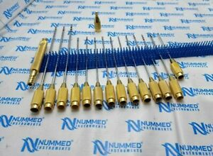 Liposuction Cannula 17 Pieces Set Of Plastic Surgery Instruments Gold Steel