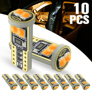 10pcs Amber T10 Led Canbus 6smd 194 168 W5w Car Wedge Side Light Dome Lamp Bulbs