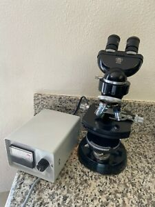 Vintage Carl Zeiss Binocular Phase Contrast Microscope Two Objective Lenses