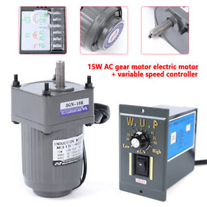 15w 110v Gear Motors Electric Variable Speed Controller 1 10 125rpm Torque Large