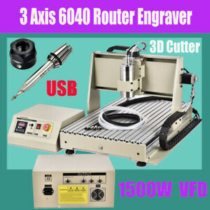 3 Axis 6040 Cnc Router Engraver Mill Machine 1500w Usb Port Metal wood Working