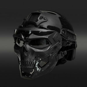 Tactical Airsoft Helmet Skull Full Face Mask Military CS Collectible Gift Set $44.10