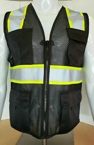 Two Tone Hi Visibility Reflective Black Safety Vest x small To 5xl