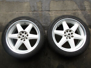 Jdm Racing Hart 17x7 Et 40 4x100 4x114 3 Rims White 6 Spoke Wheels