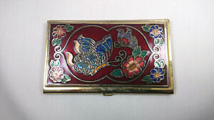 Vintage Multicolor Butterfly Floral Brass Business Card Holder 3 75 X 2 25