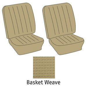 1968 1973 Vw Bus Basket Weave Vinyl Front Bucket Seat Covers Saddle 383636891