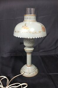 Vintage Tole Green Gold Floral Metal Desk Table Lamp Shabby Chic