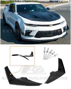 For 16 18 Chevy Camaro Ss Glossy Black Front Bumper Side Canards Dive Plane Pair