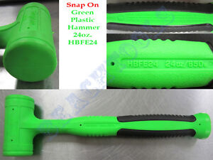 New Snap On Green Dead Blow Soft Grip Hammer 24oz Hbfe24 Made In Usa