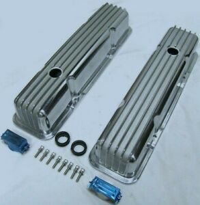 Polished Aluminum Chevy Nostalgia Finned Tall Valve Covers 283 305 327 350 400