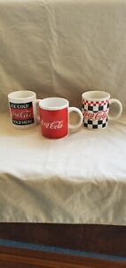 3 Asst. Coca Cola Mugs 2002 Gibson Red and White Coffee Cup Coke Checkered
