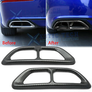 For Honda Accord 2018 2019 Carbon Fiber Rear Cylinder Exhaust Pipe Molding Trims