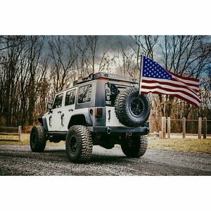 For Jeep Wrangler Jk 18 Spare Tire Flag Mount Kit With Usa Flag And Grommets