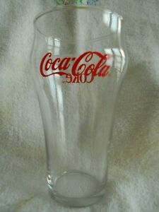 Coca Cola Cooler Highball Tumblers 16 oz. Glass Libbey? Cursive Writing Red !
