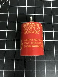 Known Good Sprague Door Knob Capacitor 715c 500 Pf z 30kvdc 500 Pf 30 Kv