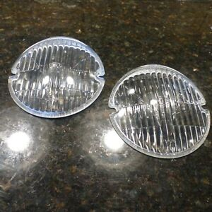 Two Rare Vintage Nos Hella Small Round Fog Lamp Light Lenses 50 s 60 s German