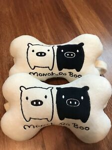 2pcs Cute Cartoon White Monokuro Boo Car Headrest Neck Pillow Auto Cushion