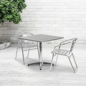Durable 31 5 Square Aluminum Indoor outdoor Table Set W 2 Slat Back Chairs